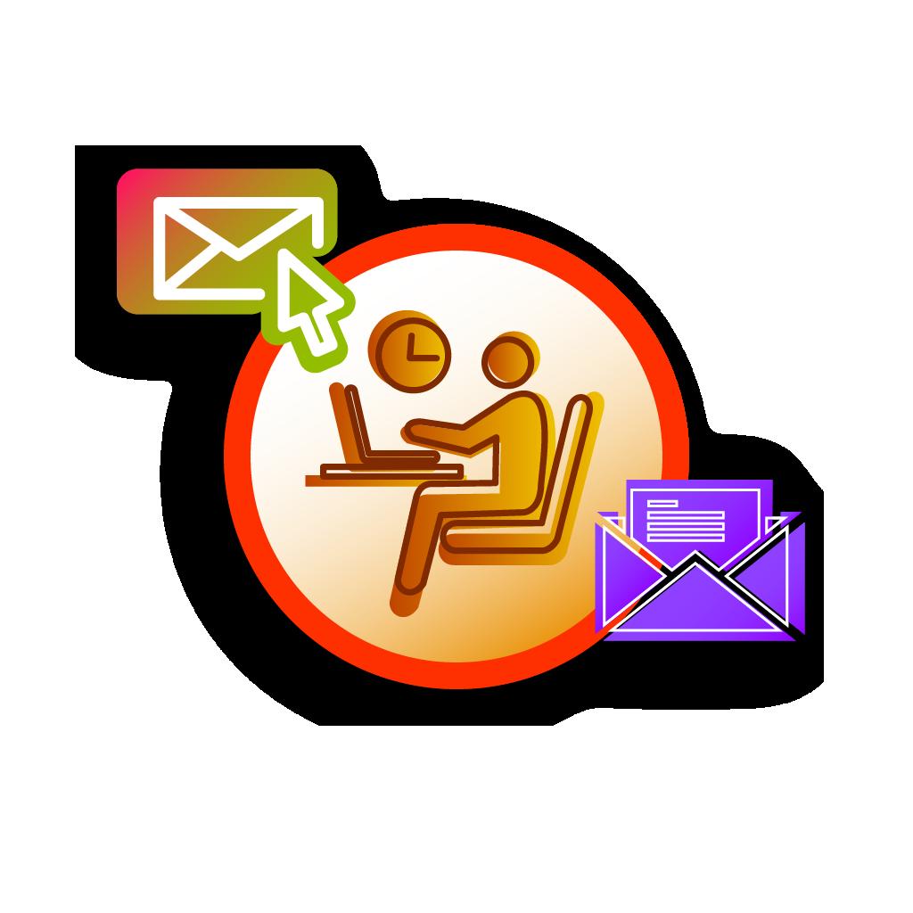 UbiTec - servicio gps - persona con computadora y dos sobres de correo